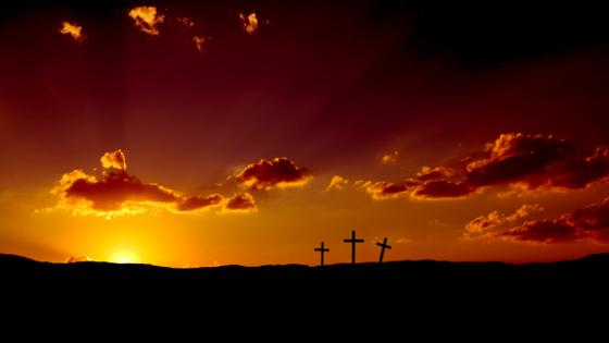 sunrise and crosses